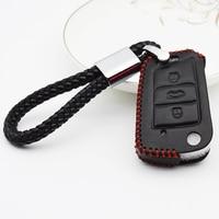 Genuine Leather Car Key Case Cover For Skoda Octavia A7 A5 1 2 Accessories Superb 2 Rapid Yeti Kodiaq Key Ring Smart Key Shell