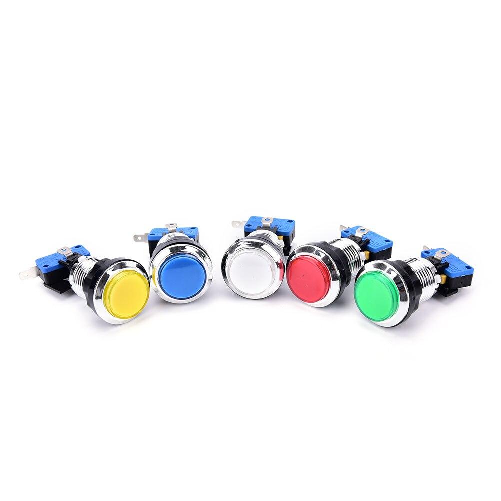 Gran oferta, 1 uds, cromado, iluminado, 12v, LED, botón de Arcade con microinterruptor, 5 colores