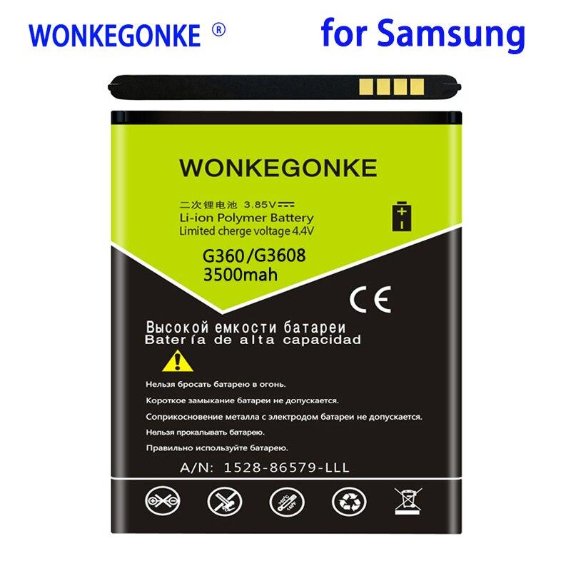 WONKEGONKE 3500mah EB-BG360CBC de la batería para Samsung Galaxy Core primer G360 G3608 G3606 G3609 Galaxy J2 ganar 2 Duos TV SM-G360BT