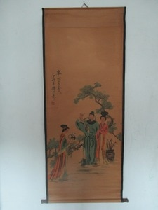 """Home wall decoration painting ,Chinese old paper scroll painting  Pan tian shou   """"li bai"""" Figure Painting"""