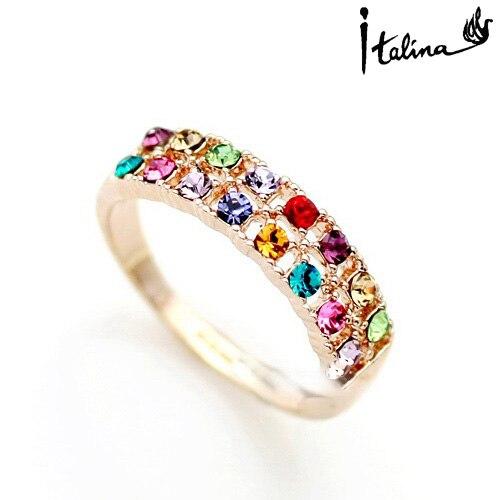 Nova venda marca tracyswing genuína áustria cristal 18 krgp ouro cor anéis para mulher # rg95126multi