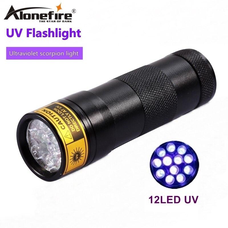 ALONEFIRE 12 UV Led 395-400nm luz ultravioleta gato perro mascota orina mineral id escorpión UV Detector linterna viaje AA batería