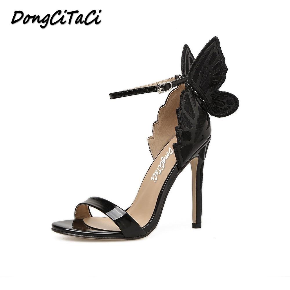 DongCiTaCi Women Pumps High Heels Sandals Shoes Woman Fashion Dreamy Butterfly Wedding Party Dress Ankle Strap Stilettos shoes