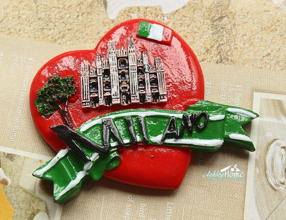 Italia Milano Milán Catedral recuerdo de viaje en forma de corazón 3D nevera arte de imán