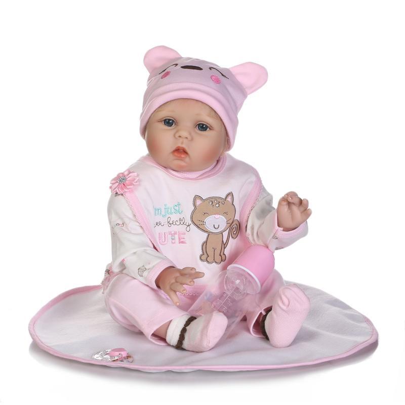 55CM soft silicone vinyl reborn babies dolls cloth body 22'' girls toy for kids Playmate birthday new year's Gift bebe blue eyes