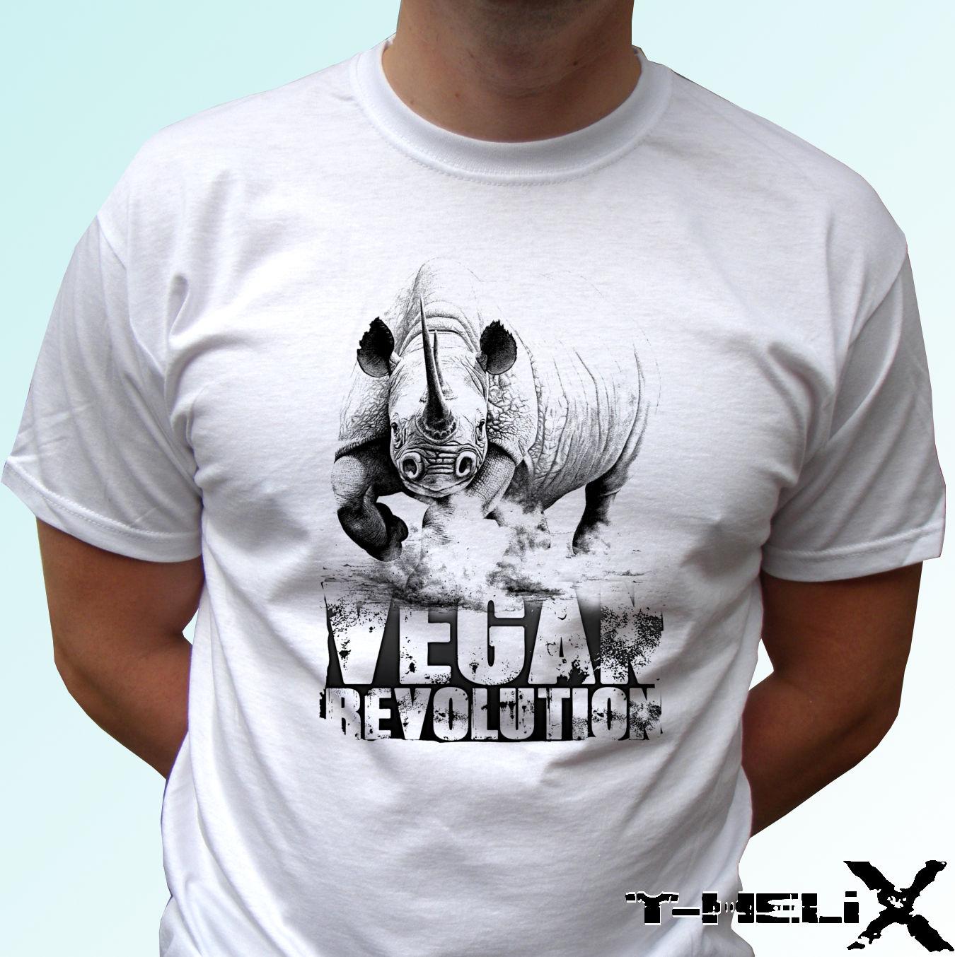 Verão Fresco T-Shirt Engraçado Vegan Vegetariana Veggie Revolução Rinoceronte-Branco T Shirt Top Tee-Todos Sizestops Tees T-Shirt roupas
