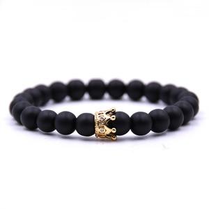 Moda preto branco grânulos de pedra com ouro prata cor liga coroa pulseira para mulheres masculino pulseiras jóias