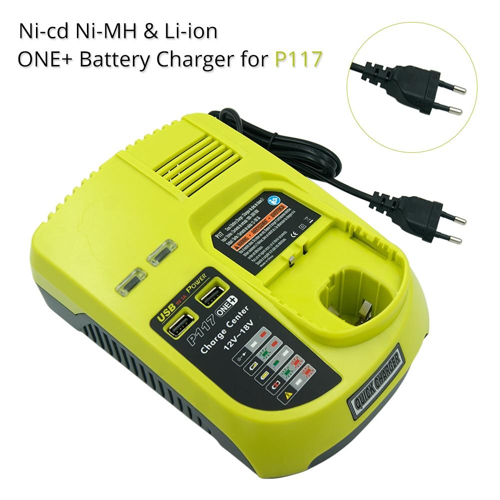 Ni-Cad Ni-mh li-ion 9.6 فولت 12 فولت 14.4 فولت 18 فولت ماكس شاحن بطارية ل Ryobi P100 P102 P108 RB18L40 P117 One Plus + 2 منافذ USB الاتحاد الأوروبي التوصيل