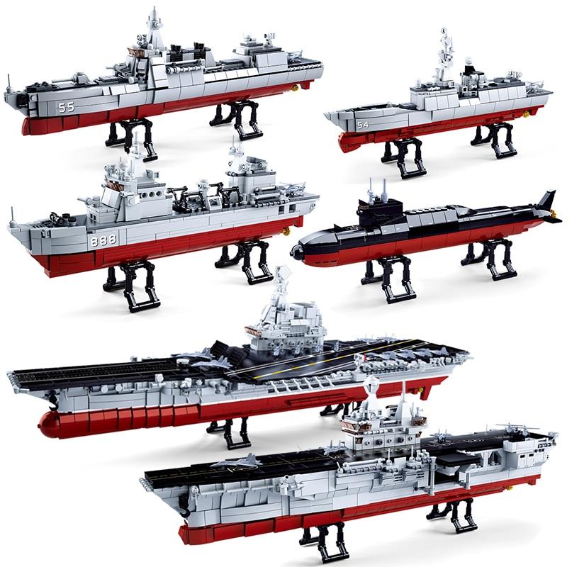 Sluban, compatible con buque de guerra militar, conjuntos de barcos de guerra, kit de construcción, bloques, juguetes para niños, ladrillo, aircrafted carrier creator DIY