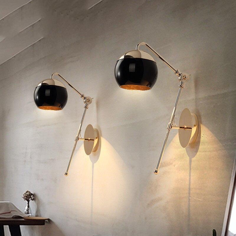 Bola de cristal para mesita de noche de dormitorio nórdico, lámpara Led de pared, brazo telescópico, Metal dorado, cuerpo, estudio, balcón, artefactos de iluminación con bombillas Led