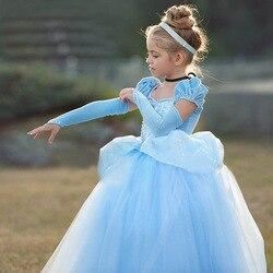 Meninas cinderela fantasiar-se trajes cosplay crianças puff manga bordado azul roupas criança natal aniversário vestidos de princesa