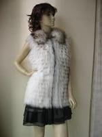 new style womens best racoondog fur vest jacket long coat fashion winter