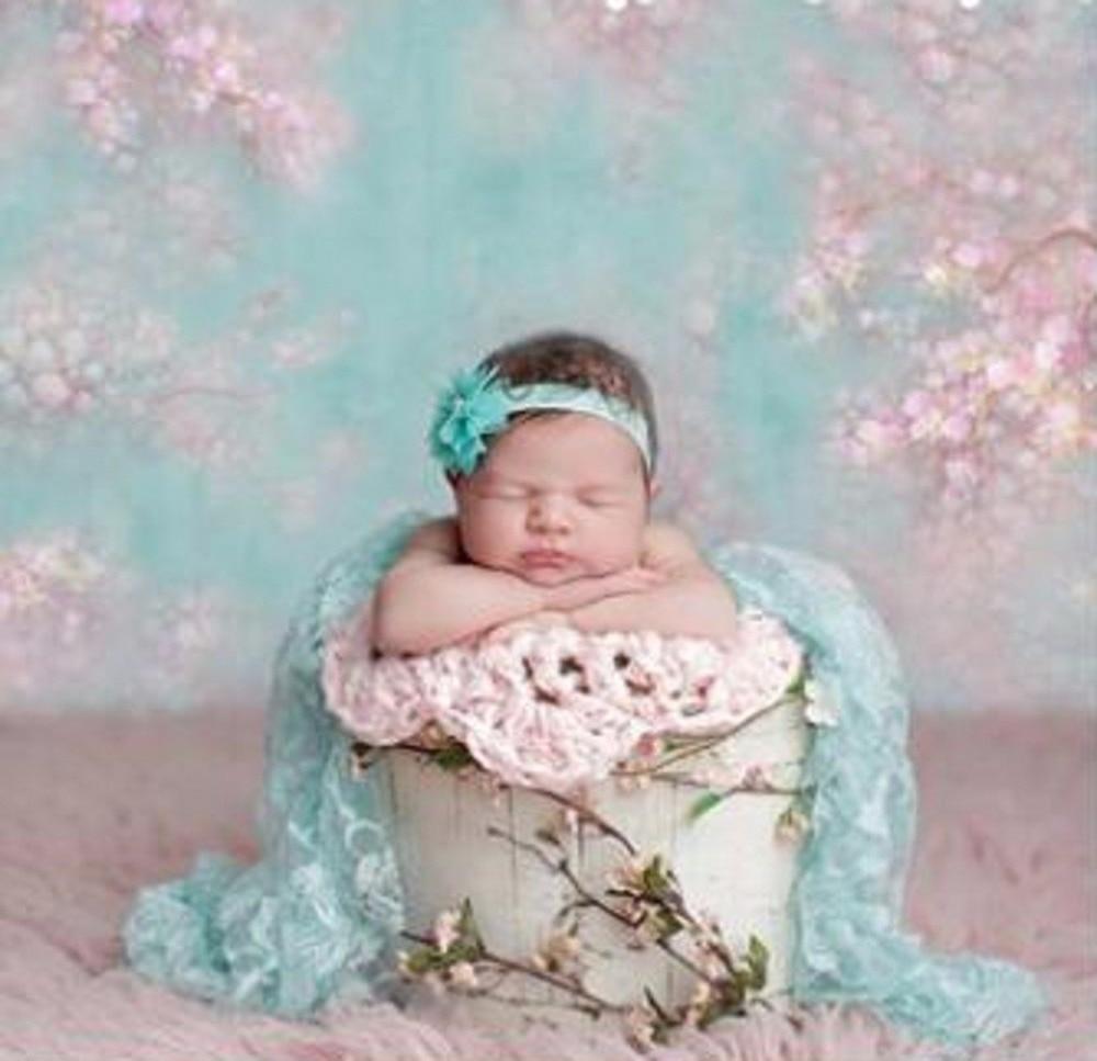 Fondo de fotografía de recién nacido Baby Shower Impresión Digital flores rosas Verde turquesa fondo Floral para estudio fotográfico