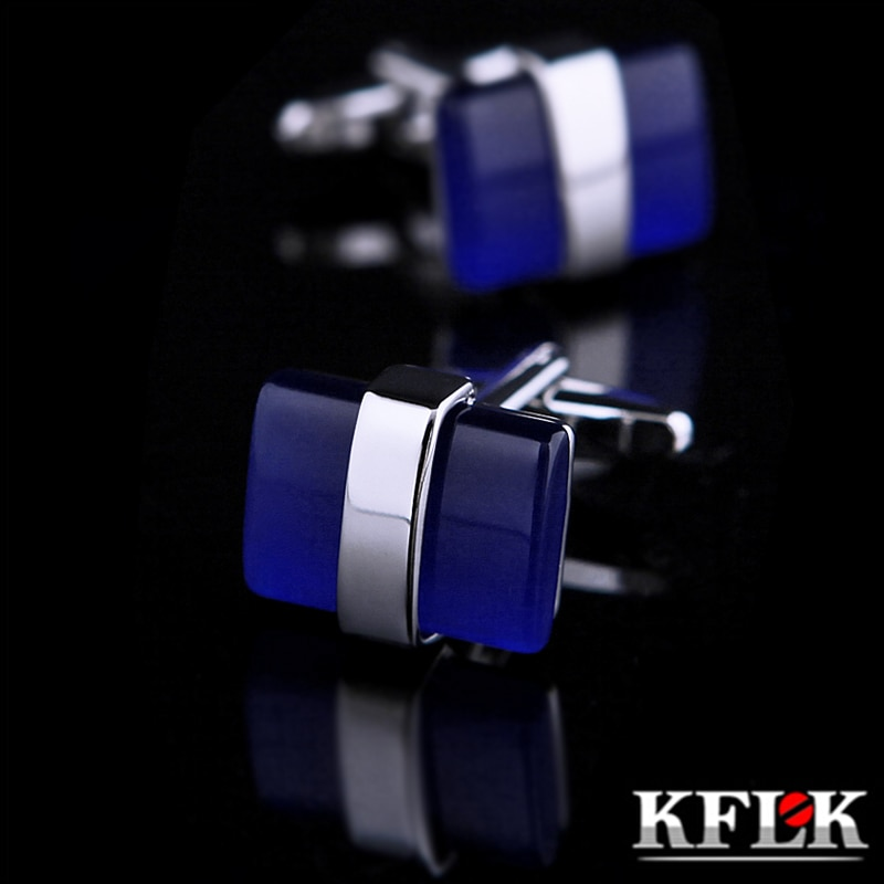 Gemelos de joyería de KFLK para regalo de hombres, gemelos de marca, gemelos azules, gemelos de alta calidad