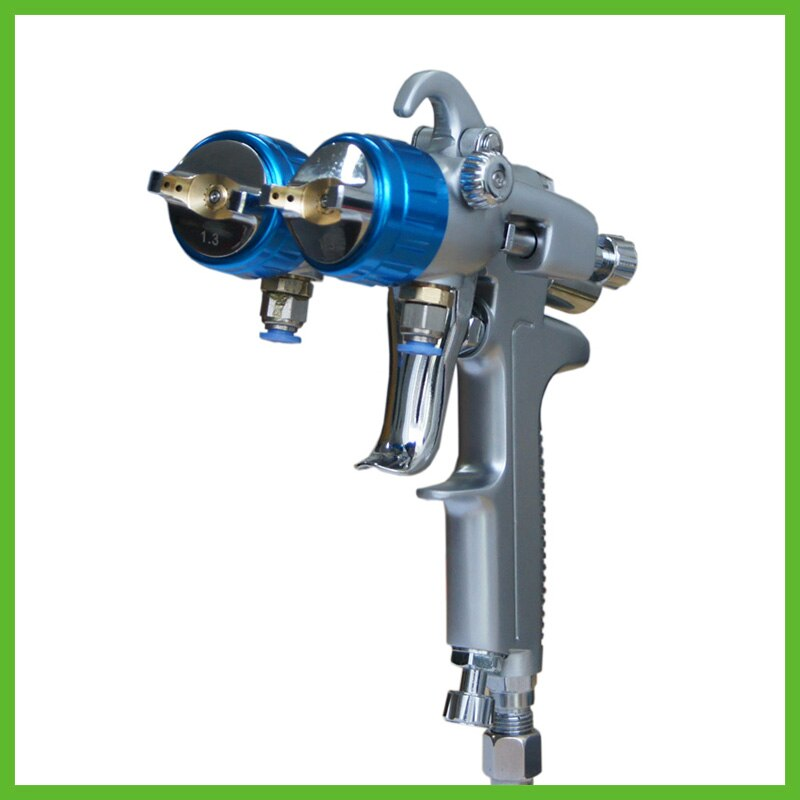 SAT1189 free shipping nano  chrome painting high pressure dual head pneumatic sprayer tool double nozzle spray gun