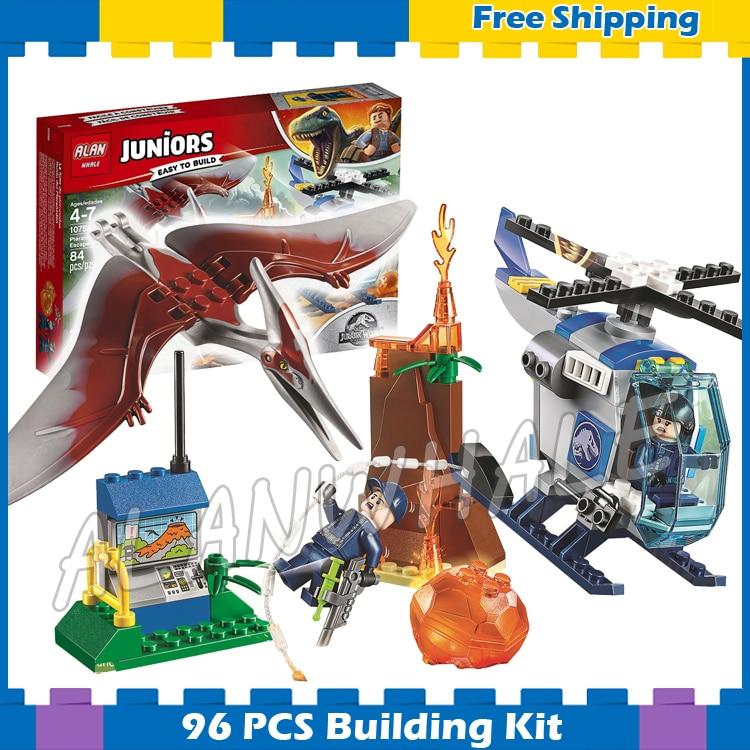 96 Uds. Jurassic World Juniors Pteranodon Escape Lava Volcano modelo bloques de construcción dinosaurio niños regalos conjuntos compatibles con Lago
