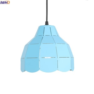 IWHD Blue Pendant Lights LED Iron Hollow Hanglamp 110V-220V Loft Vintage Hanging Lamp Fixtures For Home Lighting Industrial Lamp