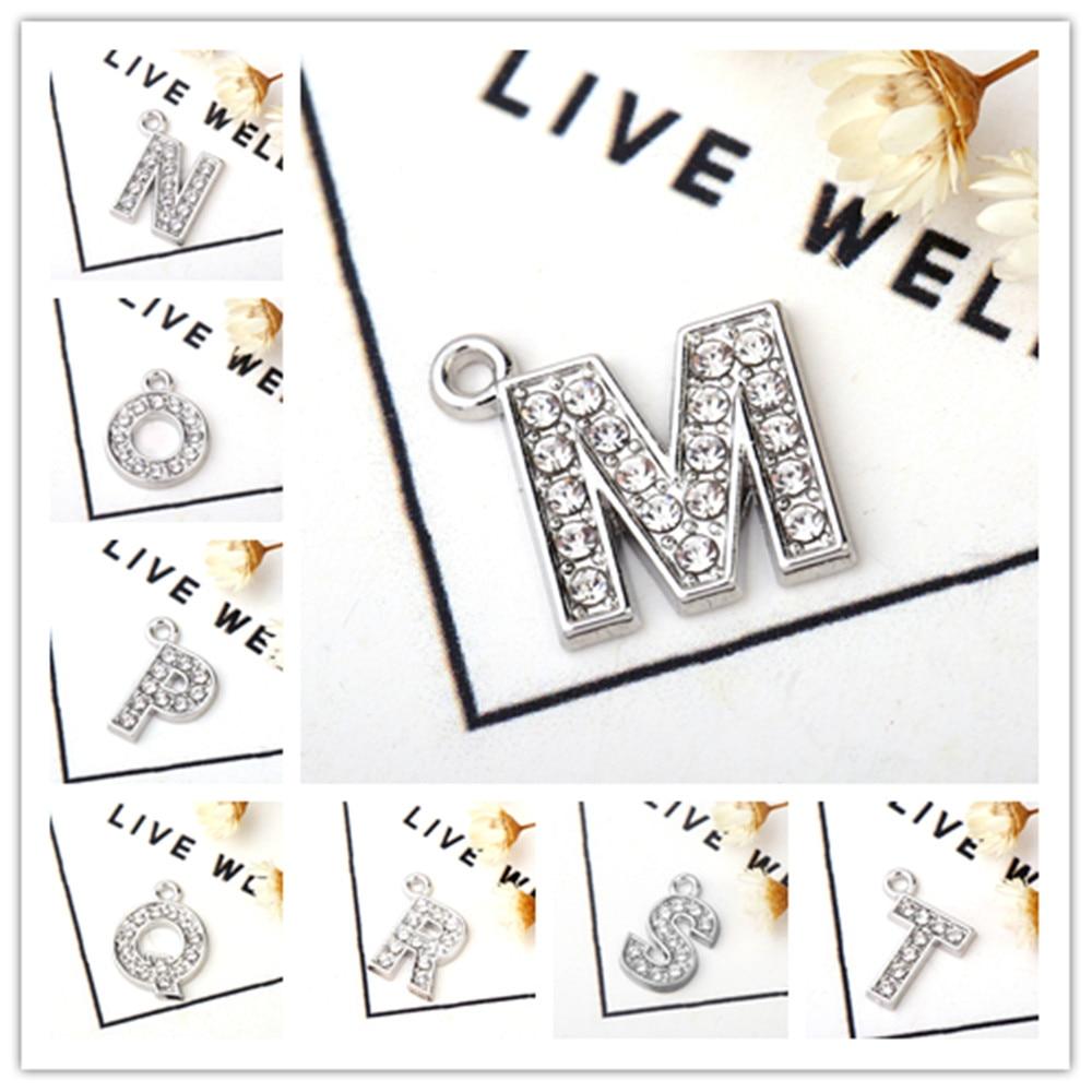 Skyrim 10pcs Exquisite Rhinestone Letter Charms for Necklace Bracelet Fashion Pendant DIY Jewelry Making A B C D E F G H I J K
