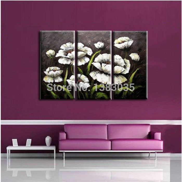 Pintado À mão 3 Peça Moderna Pinturas de Flores em Preto E Branco Conjunto Óleo Abstrata Na Lona Arte Da Parede Imagem Home Decor