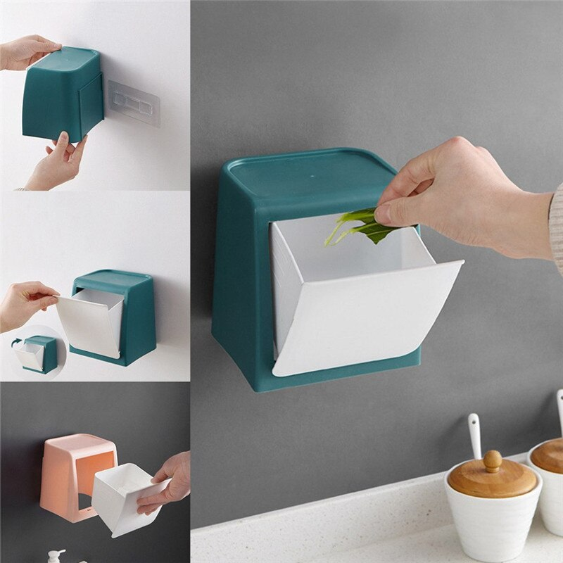 Dropship Nova de Parede Mini-Lata de lixo Do Banheiro Adesivos de Vidro Porta-Montado Lixo Pode Armazenamento Doméstico Organização XNC