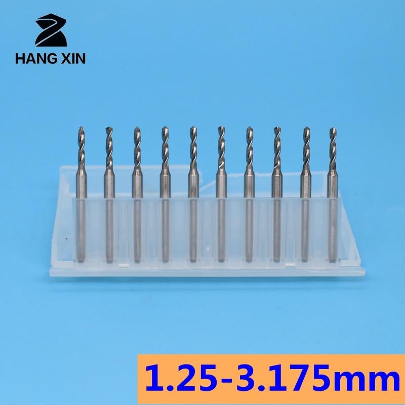 Brocas de carburo de tungsteno placa de circuito impreso micro 10 Uds 1,25-3.175mm 10mm Uds CNC enrutador de madera herramienta Mini talla e broca