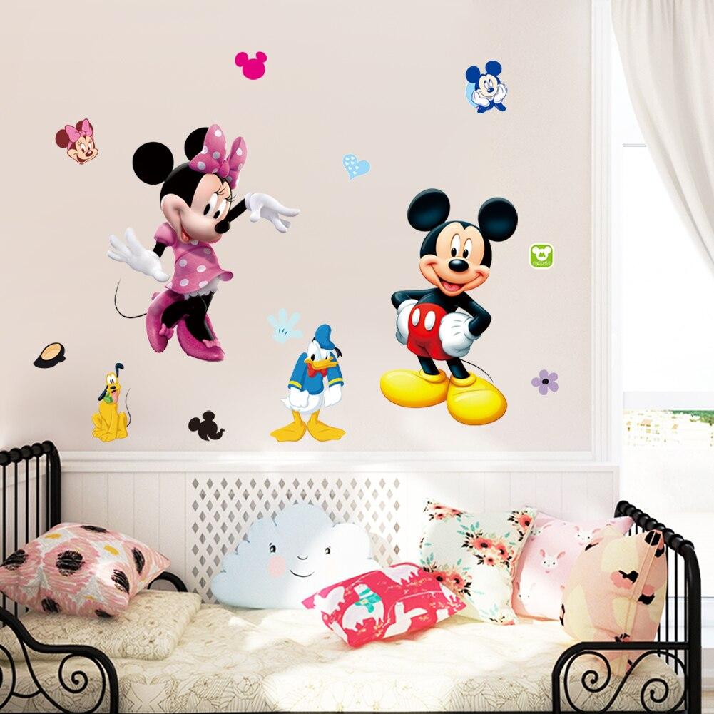 De dibujos animados Mickey Minnie ratón pegatinas de pared para jardín de infantes de la habitación de los niños hogar Decoración arte en Mural animal de los niños etiqueta de la pared