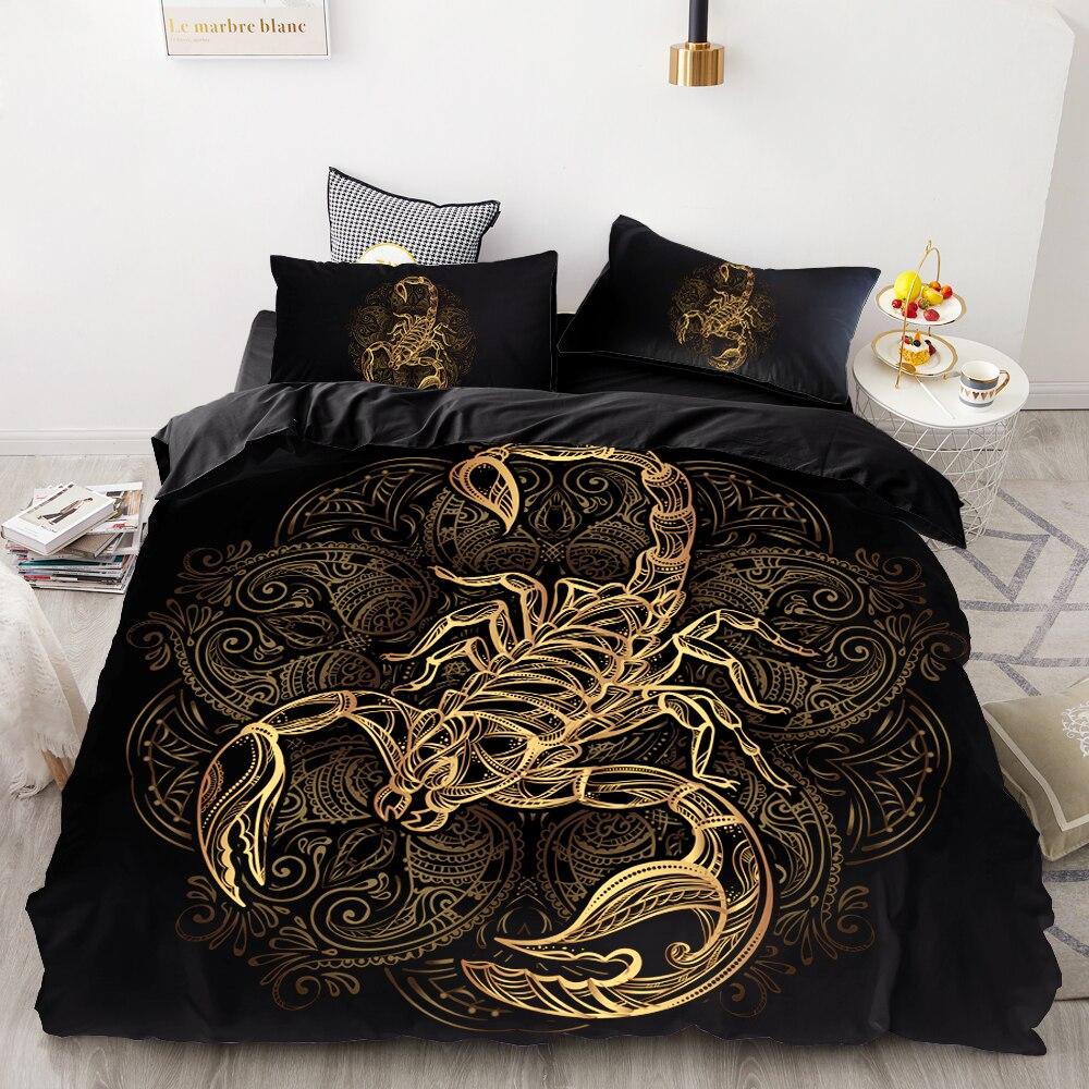 Juego de cama personalizado Impresión Digital 3D HD, juego de edredón negro Queen Cal King, ropa de cama de oro escorpión envío de la gota