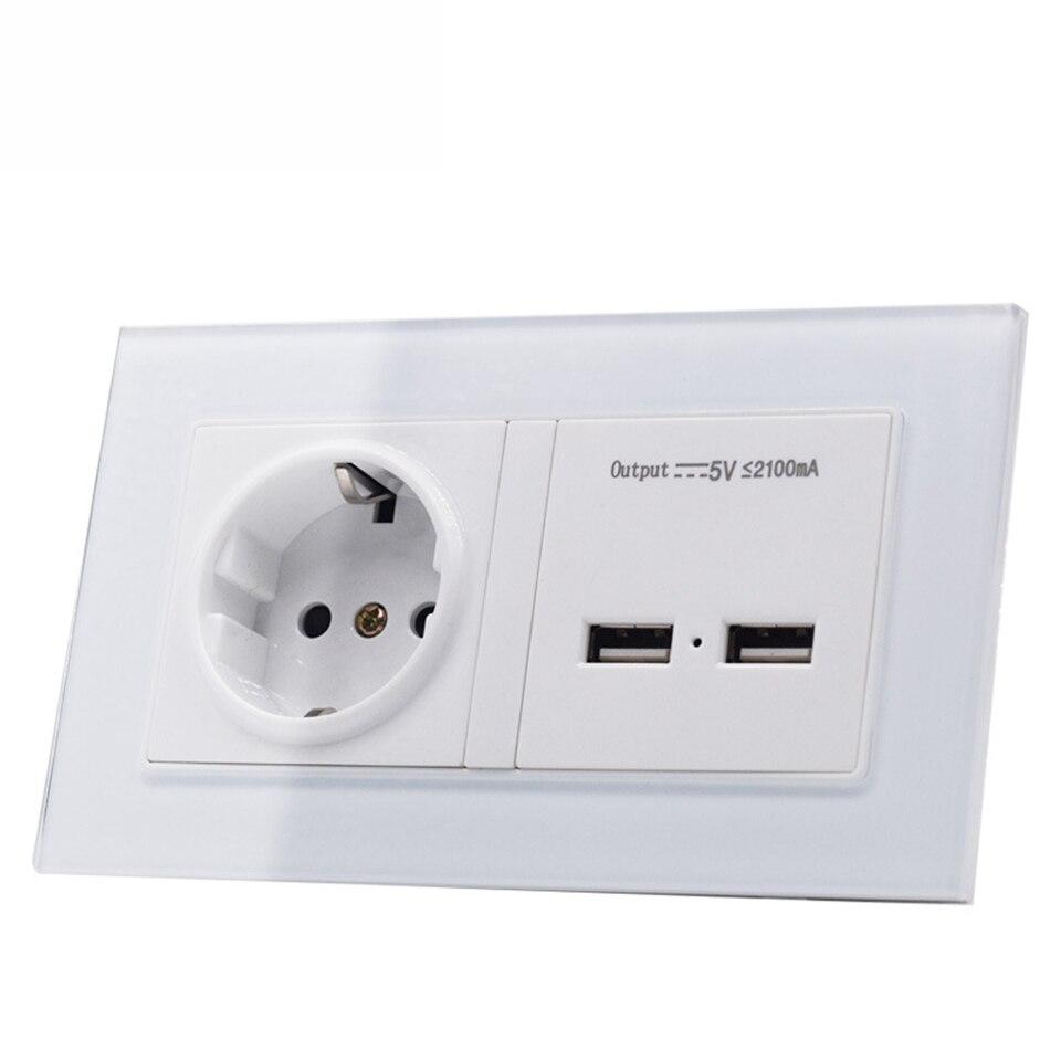 الاتحاد الأوروبي ألمانيا المزدوج USB الجدار مأخذ كهربائي المخرج ، 13A منفذ محول الطاقة منافذ لوحة مقبس مناسب لجميع الأنواع ، لوح زجاج مُقسّى