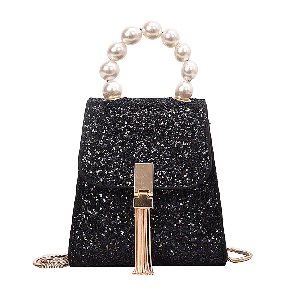 Nuevo elegante bolso de hombro para mujer salvaje Simple bolso de mensajero para niñas lentejuelas perla hombro moda señoras cadena bolso de embrague K704