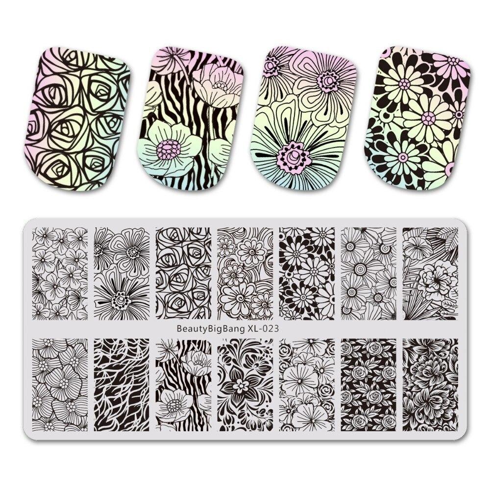 1 Uds. BeautyBigBang XL 023 Rosa uñas placas esténcil para estampado 3D molde estampado geométrico