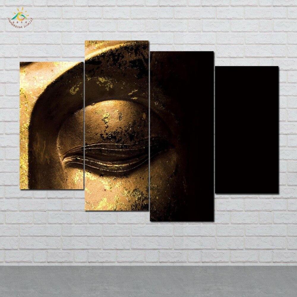 Cuadros modulares en lienzo con imágenes artísticas HD impresas con arte moderno en Cara de Buda dorado, pinturas en HD para decoración del hogar, 4 piezas