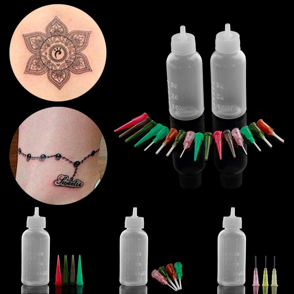 1 Set Henna Pasta Fles Nozzle Tips Kit Tatoo Caps Applicator Tekening Voor Body Art Verf Maken Tool Set Tattoo accessoires