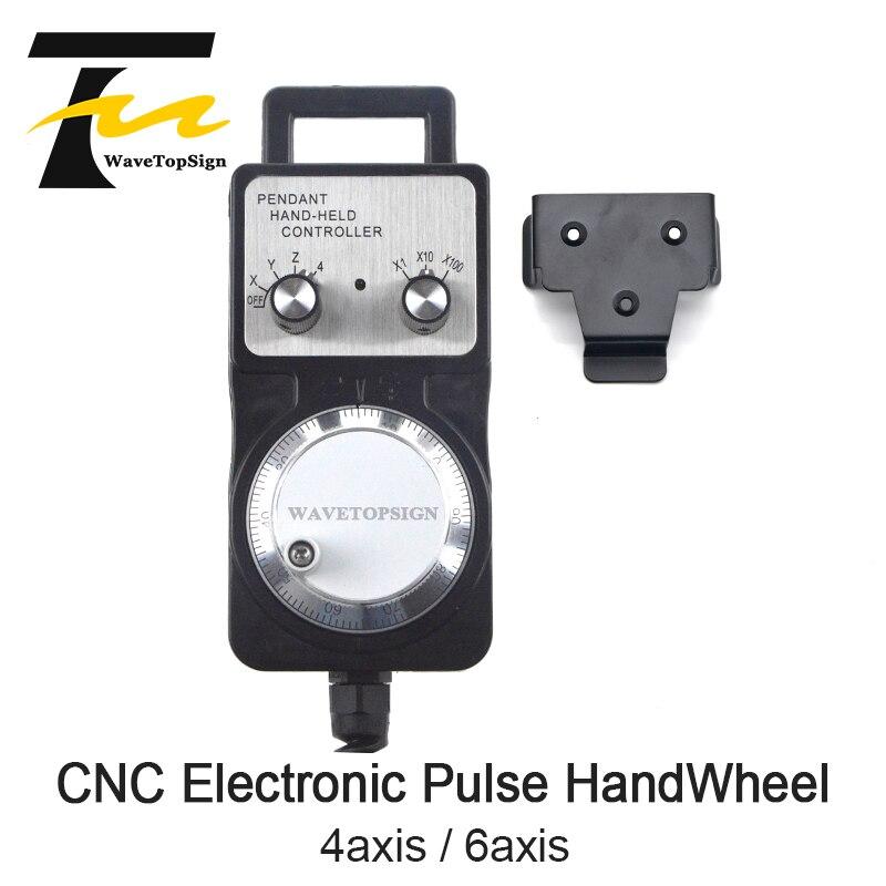 WaveTopSign volante de pulso generador CNC volante electrónico 4 eje 6 eje MPG 60mm DC5V 6pin 100PPR uso CNC maquina enrutadora