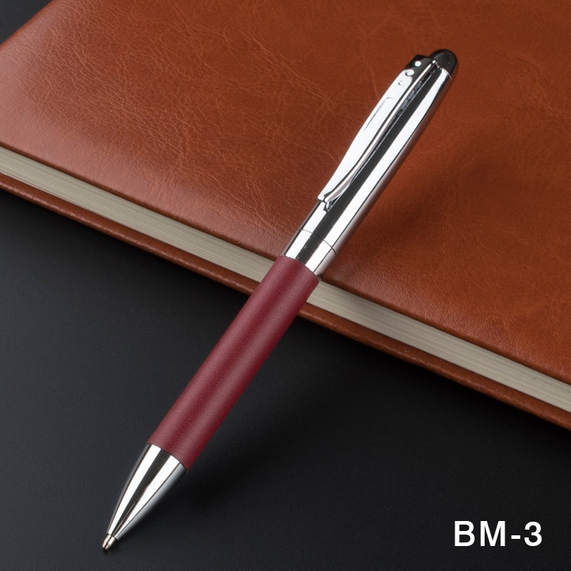 personalized pens color pen red leather metal promotional pen  luxury school Office Stationery novelty ballpoint pens 40pcs free shipping diamond crystal pen flat head metal ballpoint pens stationery ball pen office school gift pens