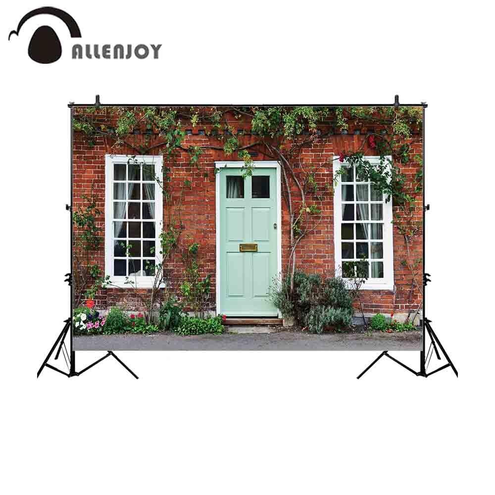 Fondos de Allenjoy para estudio de fotografía hermosa casa exterior puerta vista calle flores telón de fondo boda sesión fotográfica
