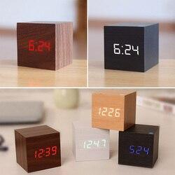 Cube деревянный светодиодный Будильник с контролем температуры и звуков светодиодный электронный настольный цифровой часы despertador