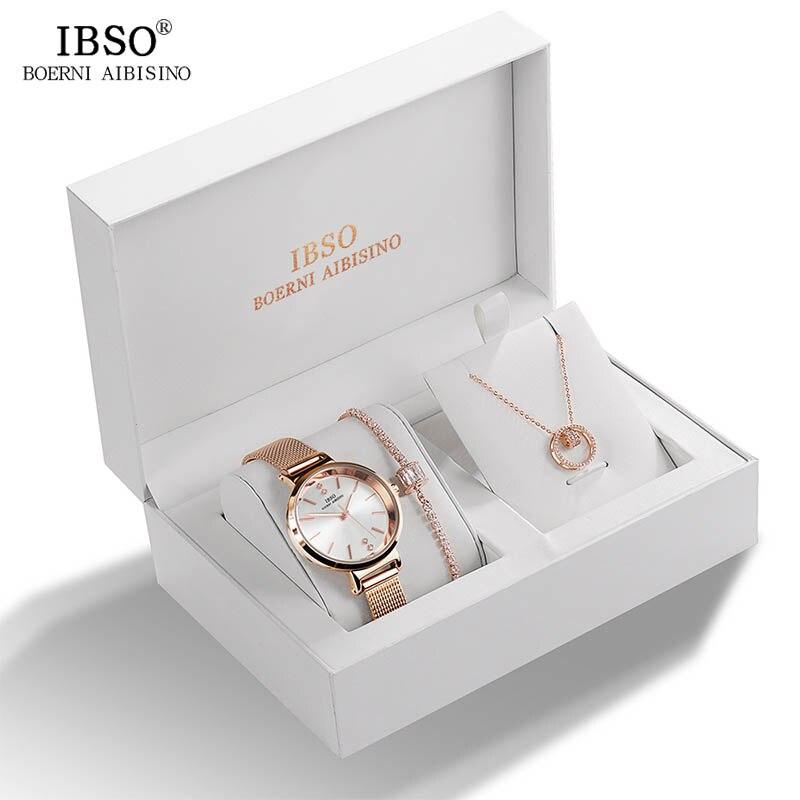 IBSO ماركة النساء ساعة كريستال تصميم سوار قلادة طقم ساعات مجوهرات نسائية طقم موضة الإبداعية ساعة كوارتز سيدة هدية