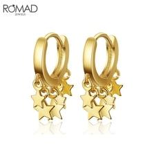 ROMAD Star Pendants Earrings for Women Gold Small Hoop Earrings Korea Fashion Dangle Earing Wedding Party Jewelry Punk brinco R4