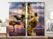 HommomH Curtains (2 Panel) Grommet Top Darkening Blackout Room Funny Giraffe Sticking Tongue Out Grassland Sunset