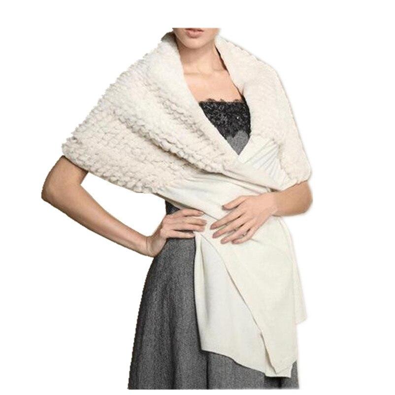 Cashmere fur cape women wedding wrap White fashion winter luxury wraps natural rex rabbit fur shawls brides autumn scarf F109