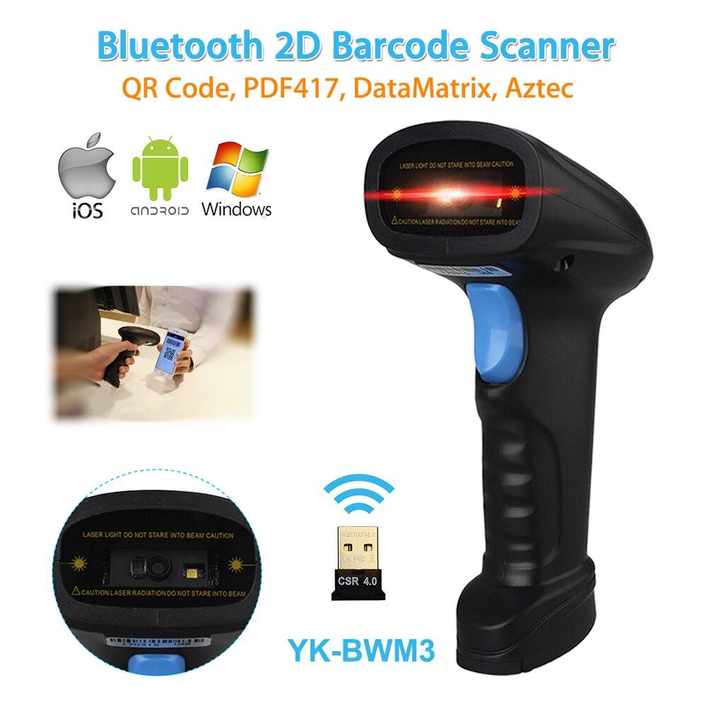 YK-BWM3 escáner de código de barras 2D inalámbrico portátil Bluetooth android ios teléfono móvil Windows Compatible con 2D escáner inalámbrico de mano