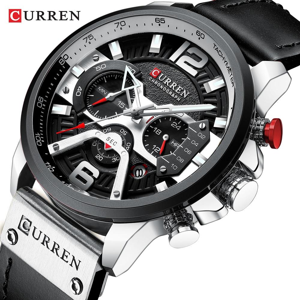 Relojes CURREN, relojes de pulsera de cuero deportivos de moda para hombre, relojes de vestir casuales, relojes de hombre, relojes de hombre