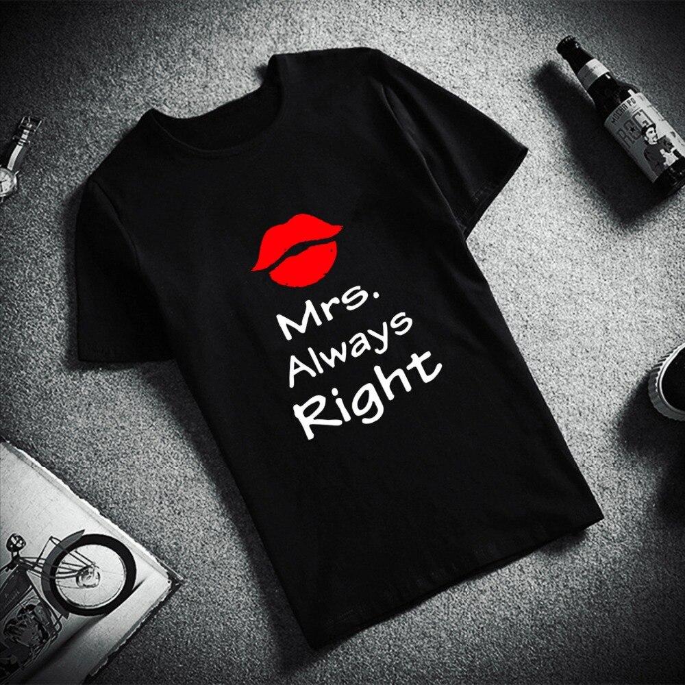 Camiseta de manga corta a la moda para hombre Mr Right Mrs siempre derecho impreso 100% algodón Top camisetas hombres Casual O cuello camiseta par pareja ropa