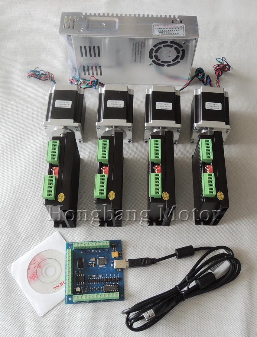 Ship from EU,CNC USB 4 Axis Kit, 4pcs TB6600 stepper motor driver+mach3 USB control card+4pcs nema23 270oz-in motor+power supply