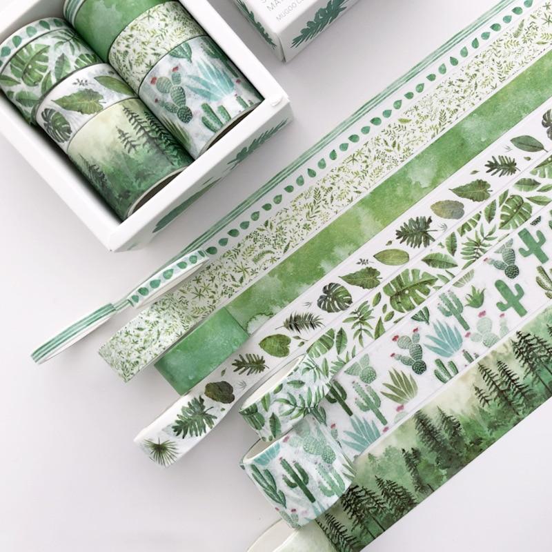 8 рулонов/набор дневник декоративные васи ленты Wisteria цветок Фламинго кактус креативный клей васи лента этикетка наклейка Канцтовары