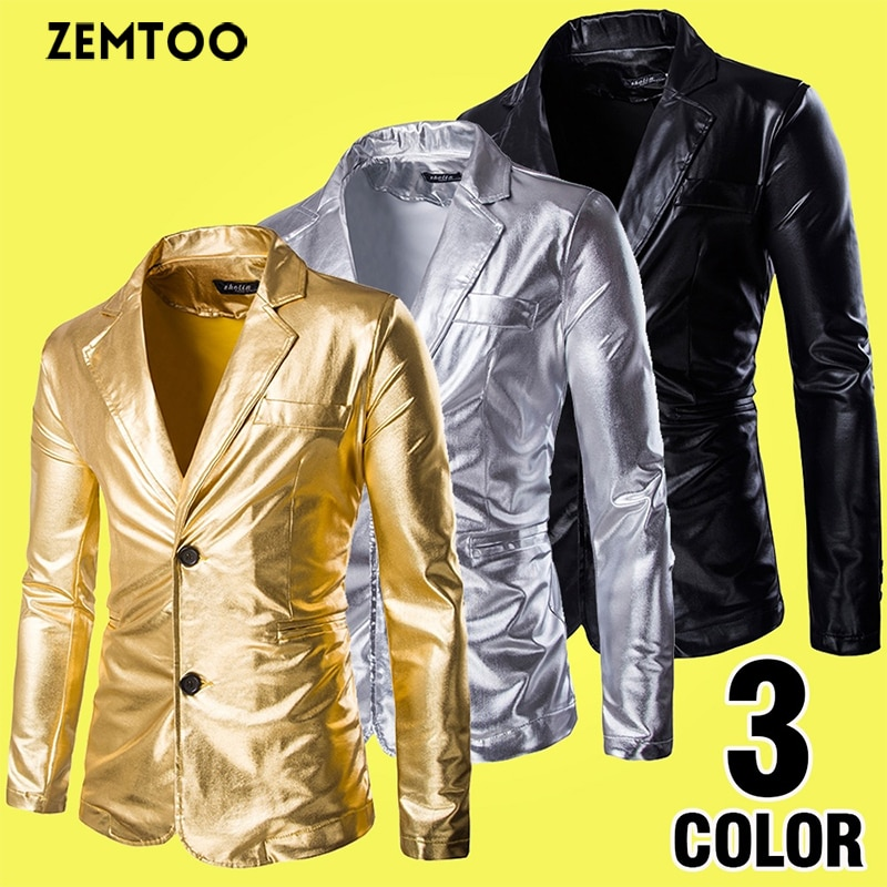 Mens Bronzing Bright Costumes Slim Fit Casual Suit Jacket