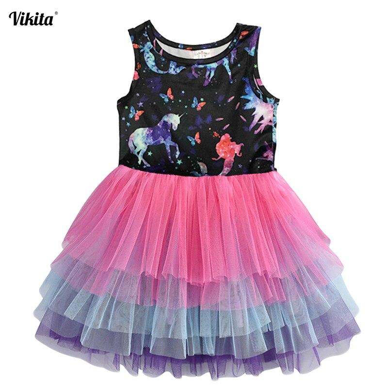 Vestido de niñas VIKITA sin mangas vestido de tutú de verano para niñas Vestidos casuales de fiesta de princesa de dibujos animados para niñas