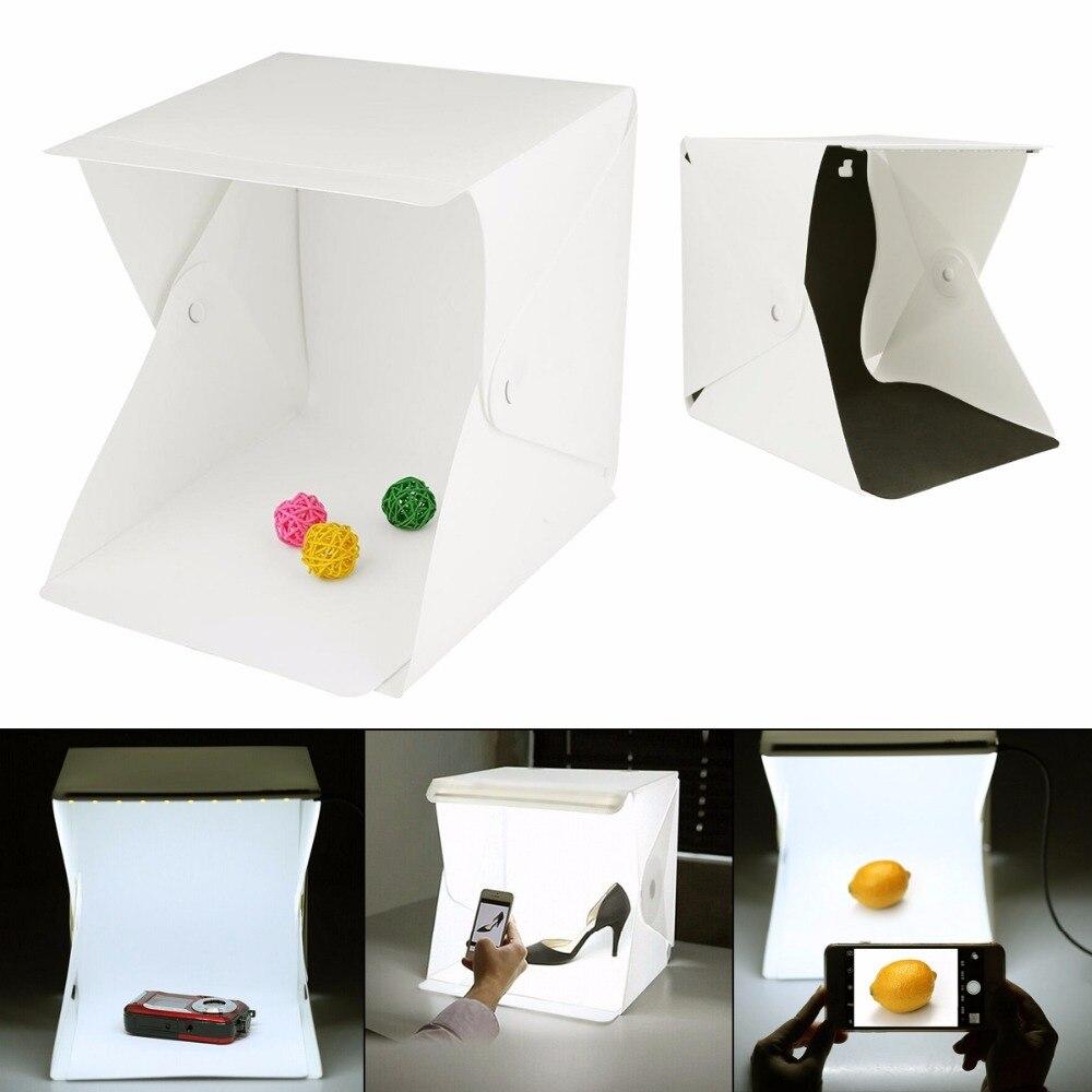 SOONHUA Folding Leuchtkasten Fotografie Studio LED Licht Weichen Box Zelt Kit Für Telefon DSLR Kamera Foto Hintergrund Kostenloser Versand