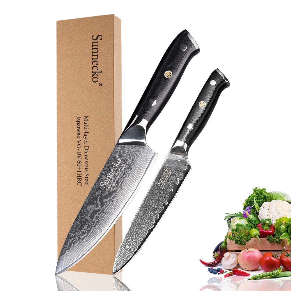 Sunnico دمشق 6.5 ''سكين الطاهي 5'' سكّين متعدّد الاستخدامات اليابانية VG10 سكاكين المطبخ الصلب G10 مقبض قطاعة الفواكه اللحوم الحادة