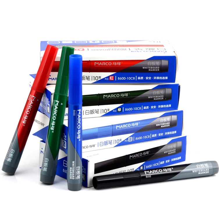 10 unids/set de material escolar de oficina Marco 8600 negro rojo verde azul marcador de pizarra borrable alternativo para escribir dibujo